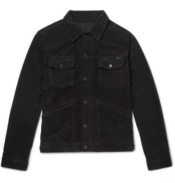 TOM FORD - Slim-Fit Washed Cotton-Blend Corduroy Trucker Jacket - Men - Black