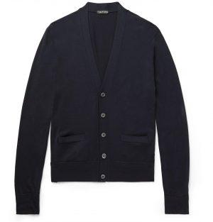 TOM FORD - Slim-Fit Wool Cardigan - Men - Blue
