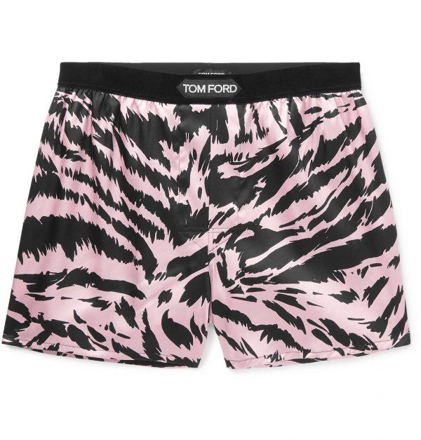 TOM FORD - Velvet-Trimmed Zebra-Print Stretch-Silk Satin Boxer Shorts - Men - Pink