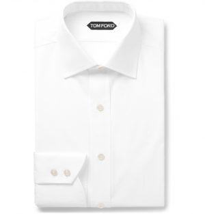 TOM FORD - White Slim-Fit Cutaway-Collar Cotton-Poplin Shirt - Men - White