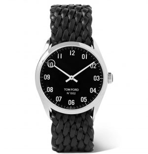 Tom Ford Timepieces - 002 38mm Stainless Steel and Braided Leather Watch - Men - Black