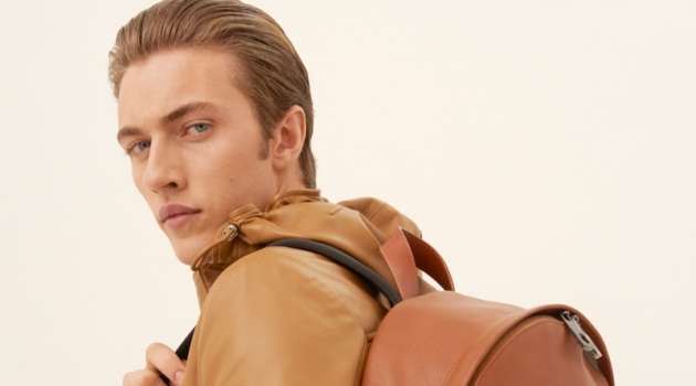 Embracing rich shades of brown, Lucky Blue Smith appears in Trussardi's spring-summer 2020 campaign.
