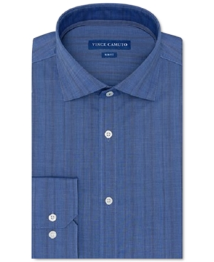 Vince Camuto Men's Slim-Fit Performance Stretch Dark Blue Chambray Stripe Dress Shirt