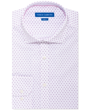 Vince Camuto Men's Slim-Fit Stretch White Pink Diamond Dress Shirt