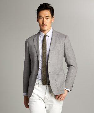 Wool/Linen Basketweave Sutton Sport Coat in Grey