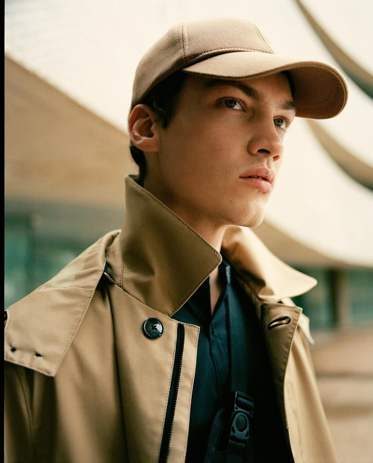 Swann Guerrault dons a coat and cap from Zara's Active Utility men's capsule collection.