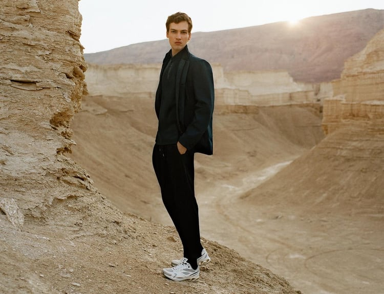 Model Swann Guerrault sports fresh styles from Zara's Active Utility men's capsule collection.