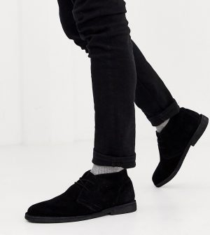 ASOS DESIGN Wide Fit desert chukka boots in black suede