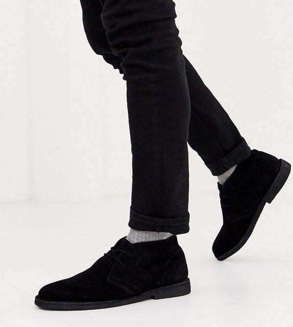 ASOS DESIGN Wide Fit desert chukka boots in black suede