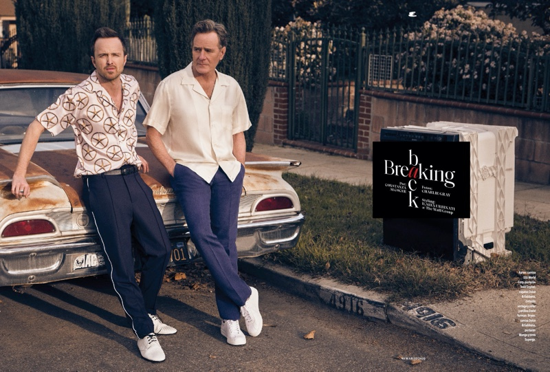 Aaron Paul and Bryan Cranston star in a feature for Esquire México. Paul dons a SSS World Corp shirt with Todd Snyder pants and Dolce & Gabbana shoes. Cranston sports a Dolce & Gabbana shirt with Mango pants and Superga sneakers.