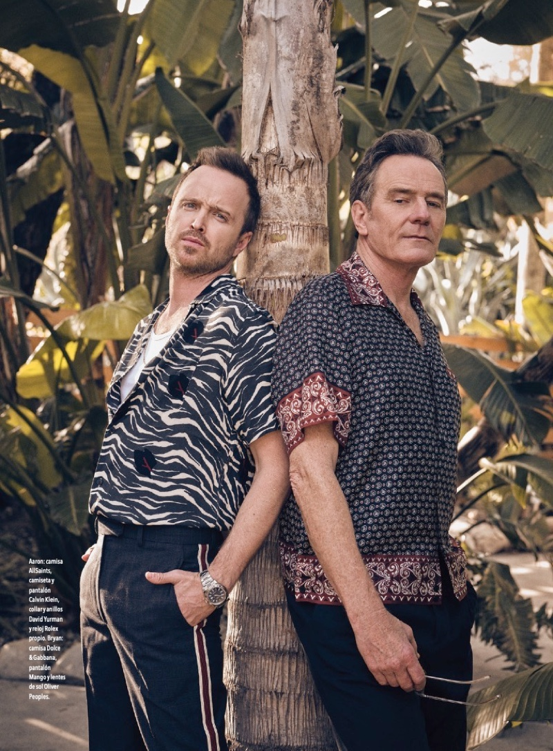 Charlie Gray photographs Aaron Paul and Bryan Cranston for Esquire México. Pictured left, Paul dons an AllSaints shirt with Calvin Klein pants and a Rolex watch. Meanwhile, Cranston wears a Dolce & Gabbana shirt with Mango pants.