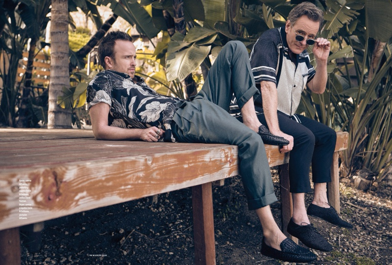 Breaking Bad co-stars reunite for the pages of Esquire México. Reclining, Paul sports an AllSaints shirt with pants and shoes from Dolce & Gabbana. Cranston dons a Dolce & Gabbana shirt and shoes with AllSaints pants.