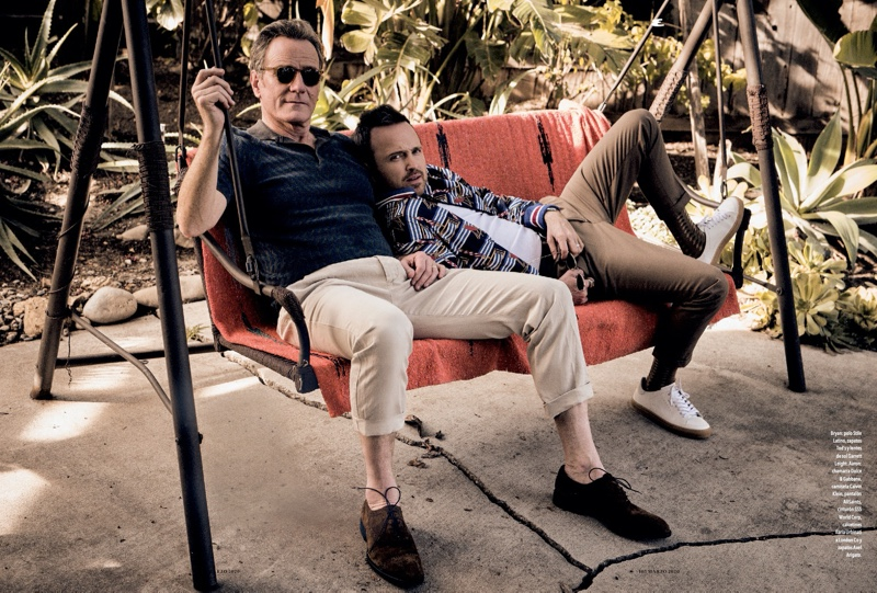 Appearing in a feature for Esquire México, Bryan Cranston wears a Stile Latino polo, Tod's shoes, and Garrett Leight sunglasses. Aaron Paul dons a Dolce & Gabbana jacket with a Calvin Klein top, AllSaints pants, a SSS World Corp belt, and Axel Arigato shoes.