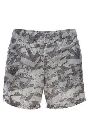 Arrows Pattern Print Tech Swim Shorts