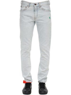 Bleached Slim Cotton Denim Jeans