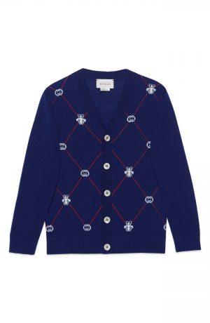 Boy's Gucci Logo Cardigan, Size 8Y - Blue