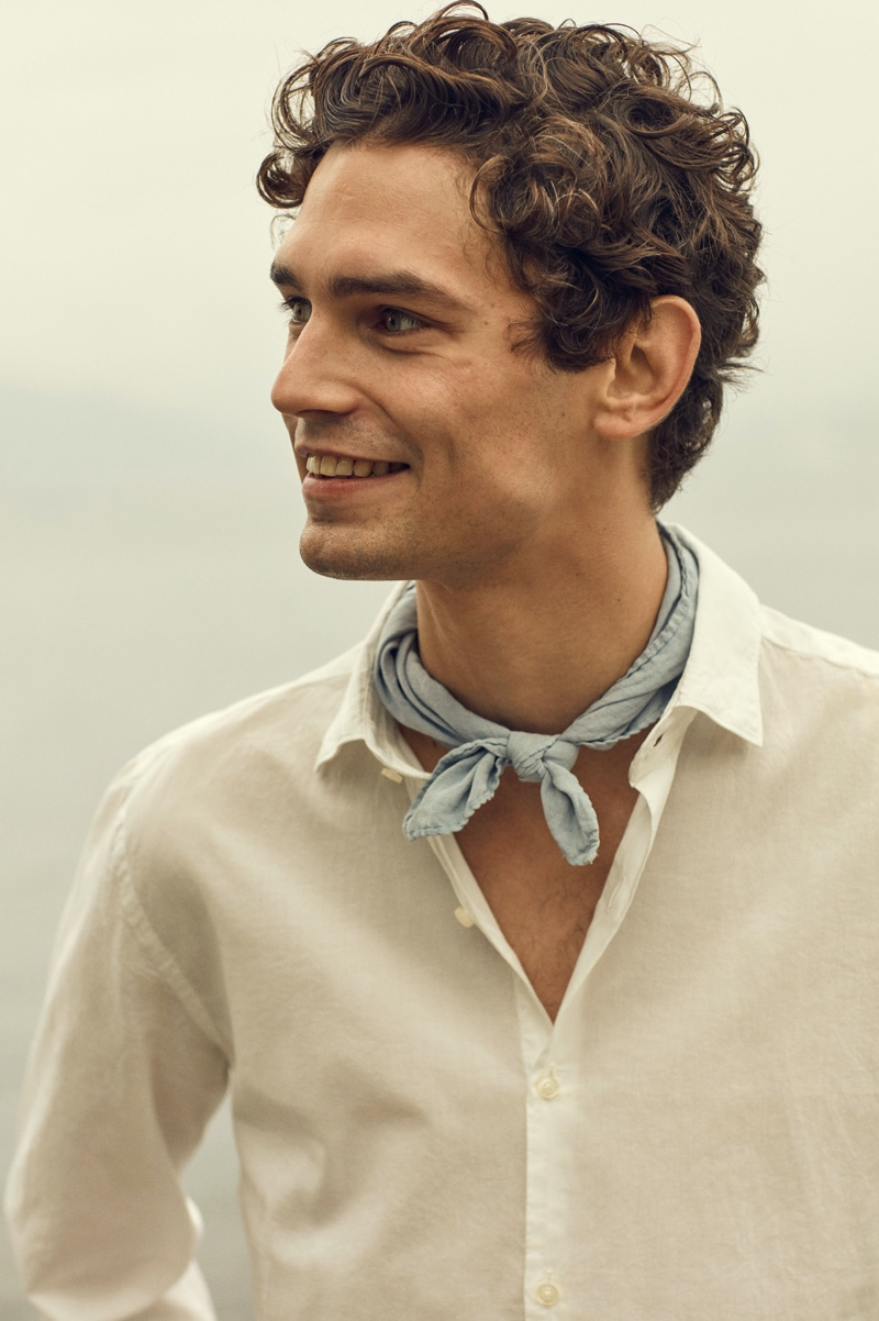 All smiles, Arthur Gosse is the face of Brooksfield's spring-summer 2020 collection.
