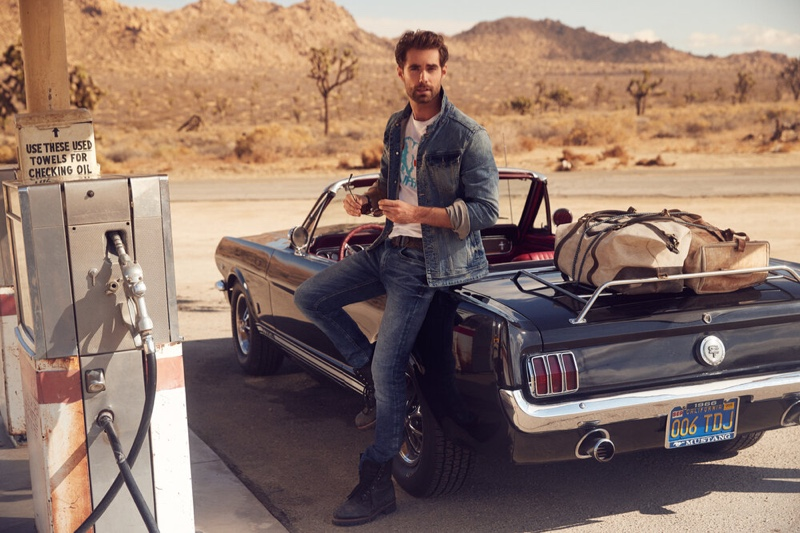 Doubling down on denim, Vincent von Thien appears in Buffalo David Bitton's spring-summer 2020 campaign.