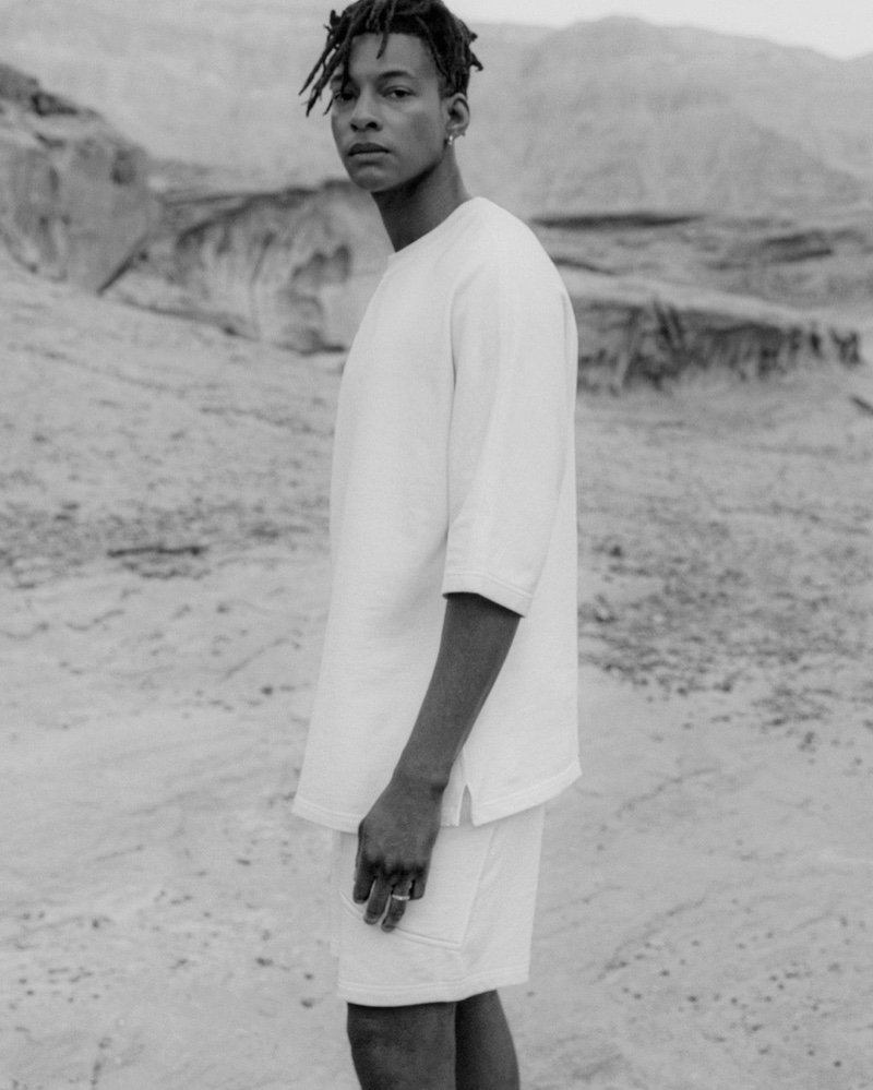 Front and center, Ty Ogunkoya rocks a spring outfit from COS.