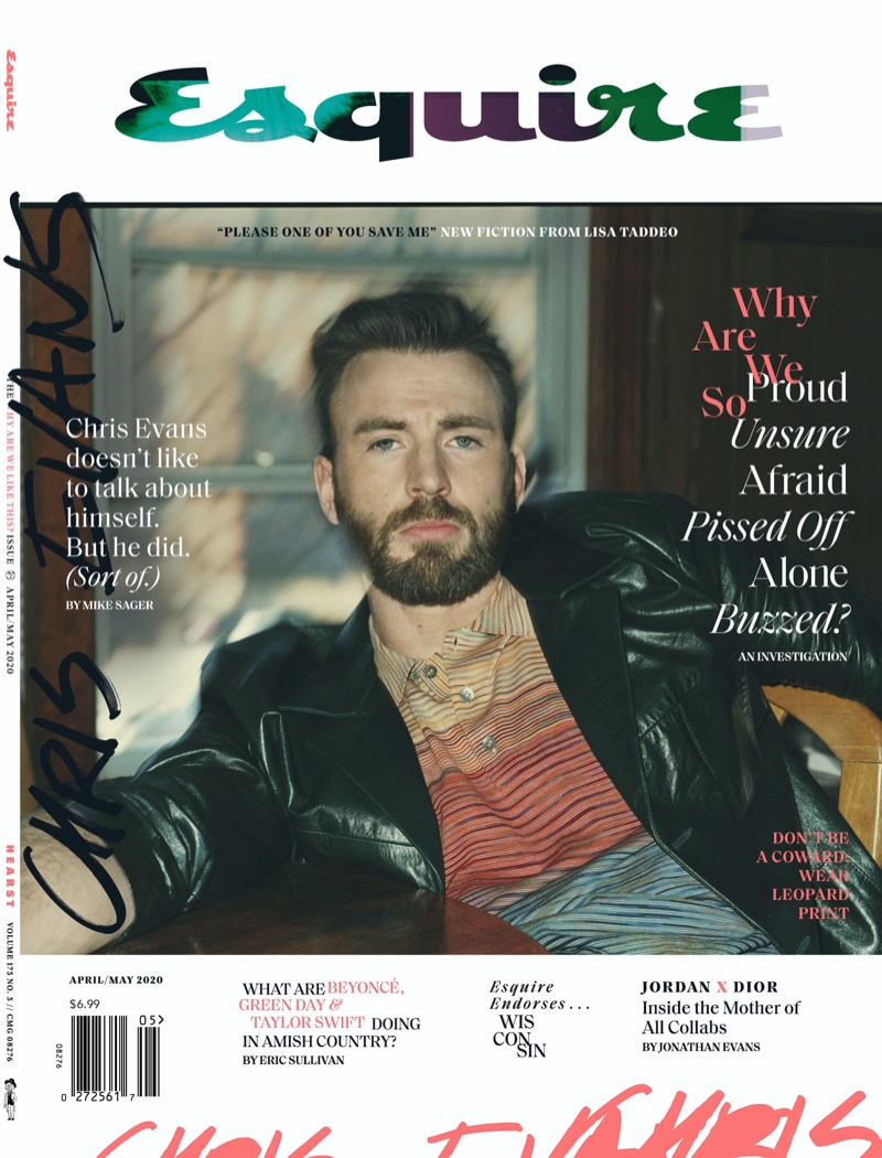 Chris Evans covers the April/May 2020 issue of Esquire magazine.