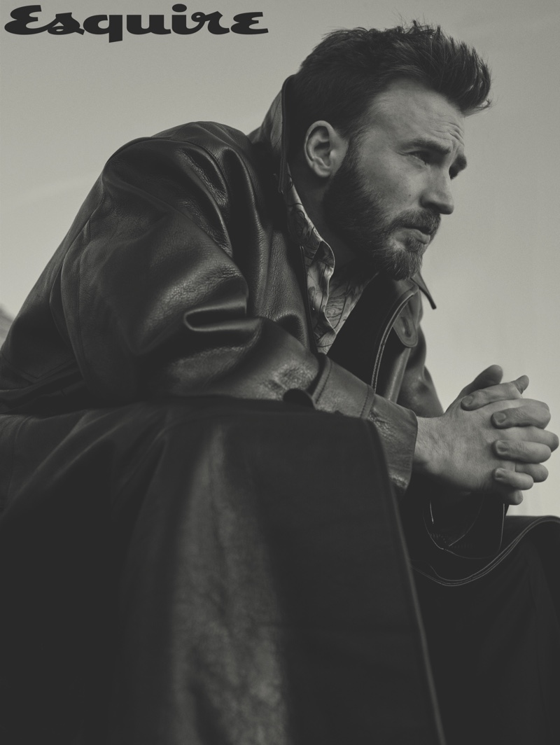 Robbie Fimmano photographs Chris Evans in a leather AMI jacket for Esquire. Evans also rocks a sweater and shirt by Dior Men with Louis Vuitton pants.