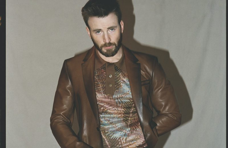 Front and center, Chris Evans don a leather Berluti jacket with a Missoni shirt, Valentino pants, and an RRL belt for the pages of Esquire.