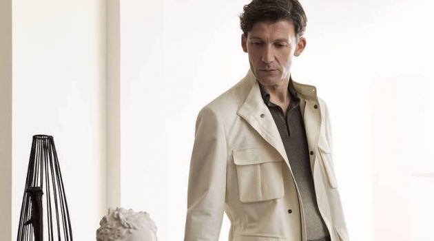Making a classic statement in a safari jacket, Ben Grafton fronts Corneliani's spring-summer 2020 campaign.
