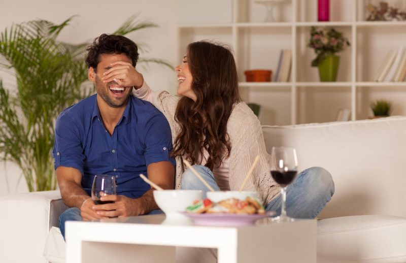 Couple Laughing Chinese Food Wine