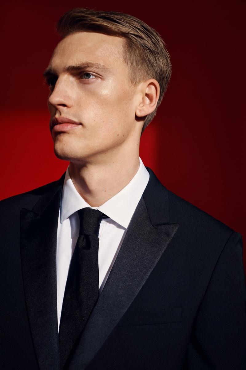 A dapper vision, Victor Nylander models a tuxedo for David Jones' spring-summer 2020 campaign.