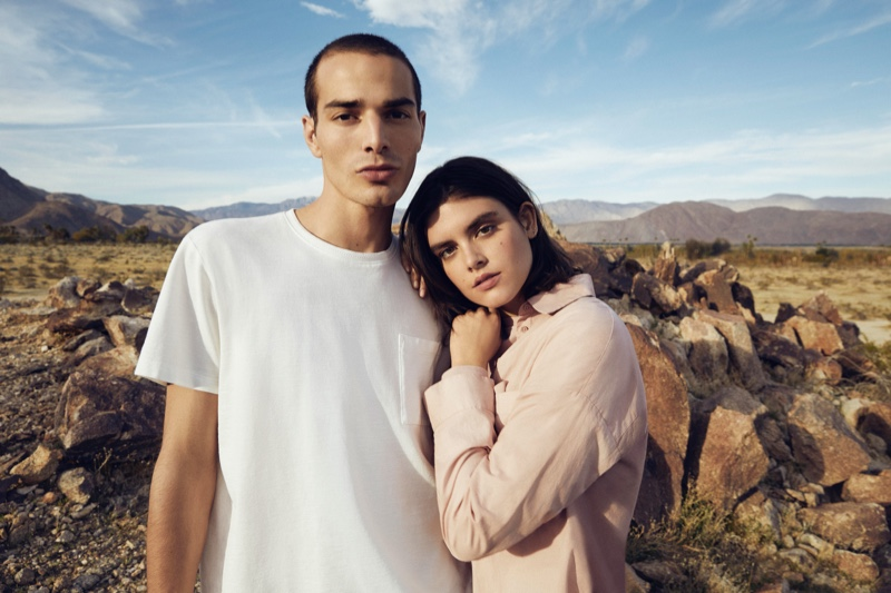 Models David Friend and Kristen Coffey front Esprit's EarthColors capsule collection campaign.