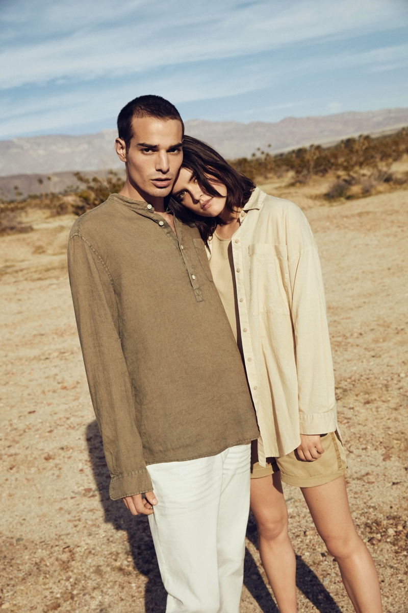 Pictured alongside Kristen Coffey, David Friend sports a grandad collar pullover from Esprit's EarthColors capsule collection.