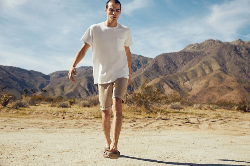 Ready for summer, David Friend dons a light-colored look from Espirt's EarthColors capsule collection.