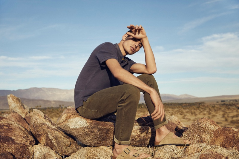 Model David Friend connects with Esprit for its EarthColors capsule collection campaign.