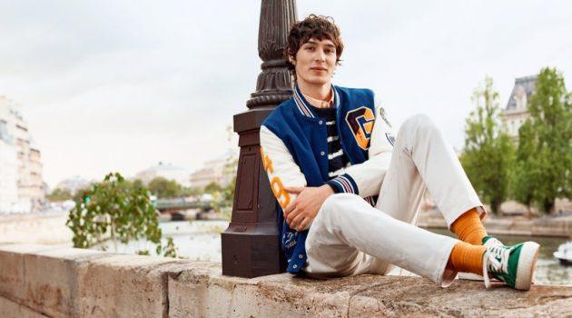 Dylan Fender sports a preppy varsity jacket for GANT's spring 2020 campaign.