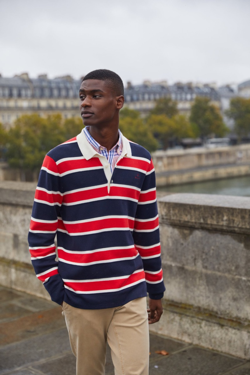 Rachide Embalo dons a rugby shirt for GANT's spring 2020 campaign.