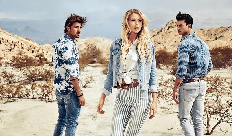 Andrea Damante, Erin Cummins, and Mattia Narducci hit the desert for GUESS' spring-summer 2020 campaign.