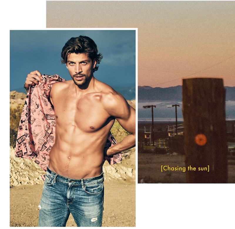 Simone Susinna goes shirtless for GUESS' spring-summer 2020 campaign.