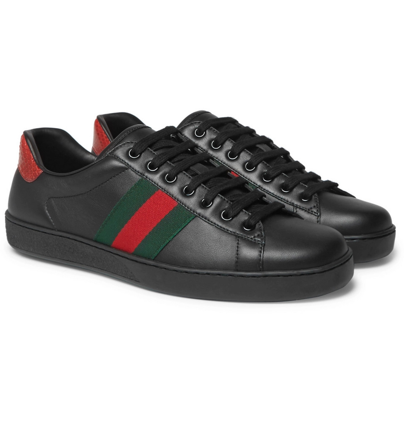 Gucci - Ace Snake-Trimmed Leather