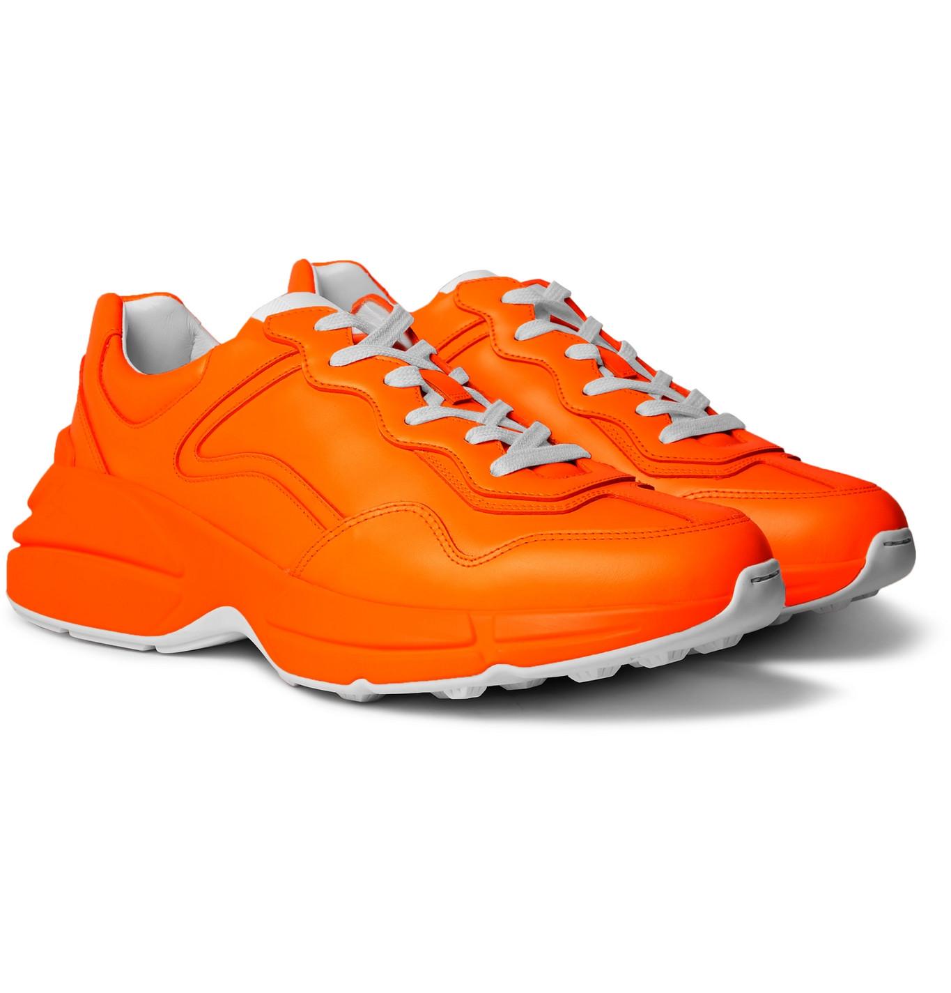 Gucci - Rhyton Leather Sneakers - Men - Orange   The ...