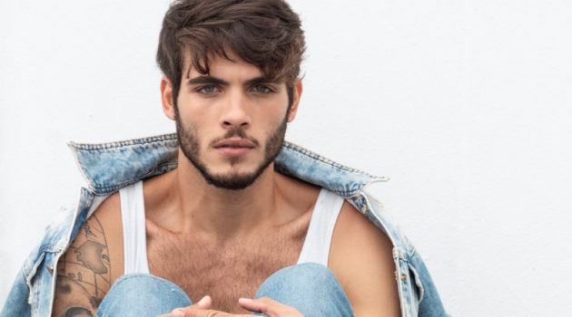 Model Gustavo Grellet sits for a portrait lensed by photographer Matheus Pereira.