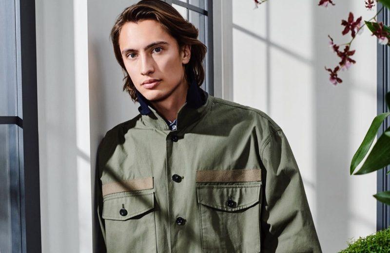 James Turlington rocks a Sacai cotton and nylon shirt with cargo shorts.