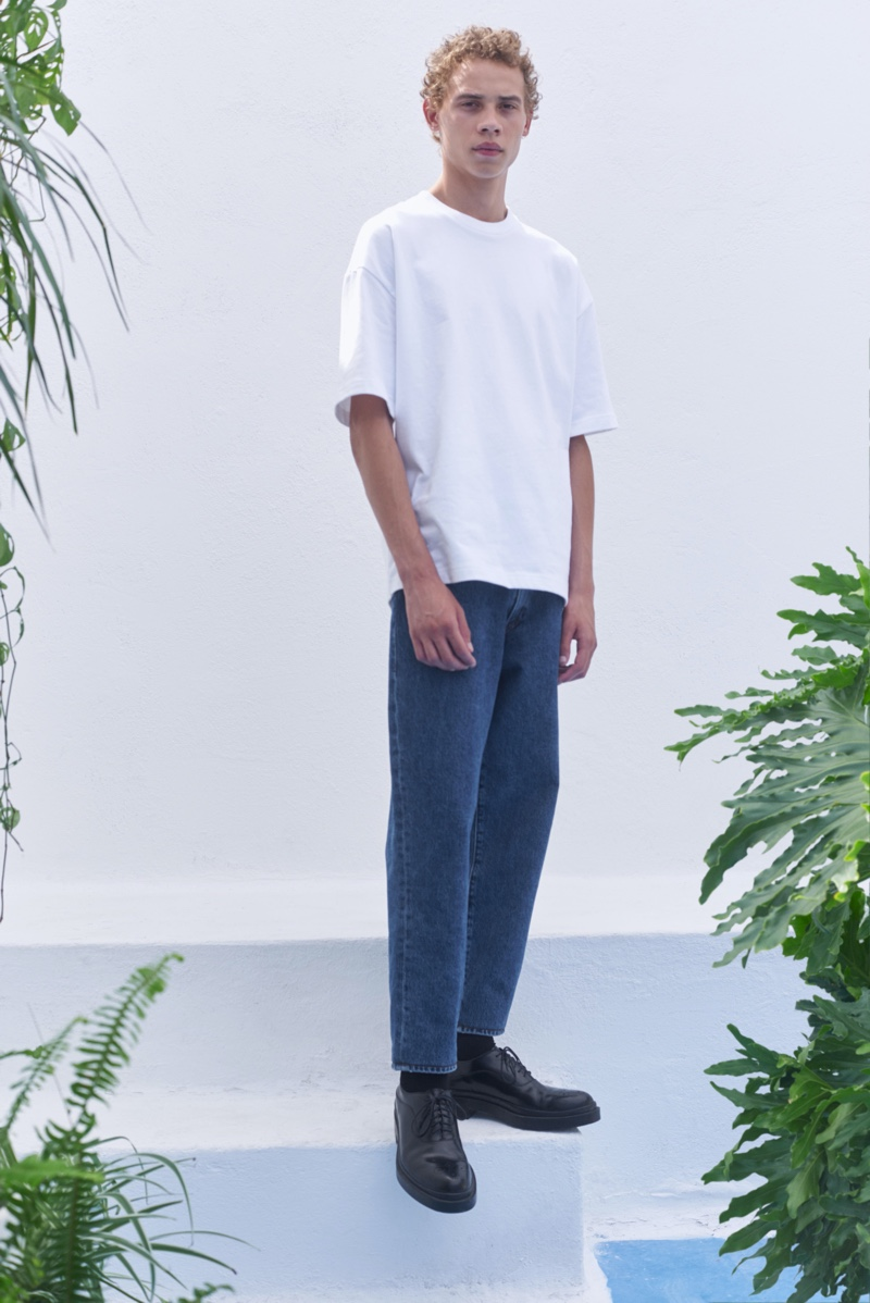 Connecting with Levi's Made & Crafted for spring-summer 2020, Lye-Amone Cassac dons the brand's taper jeans.