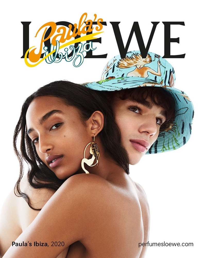 Models Mona Tougaard and Fernando Lindez star in the Loewe Paula's Ibiza fragrance campaign.