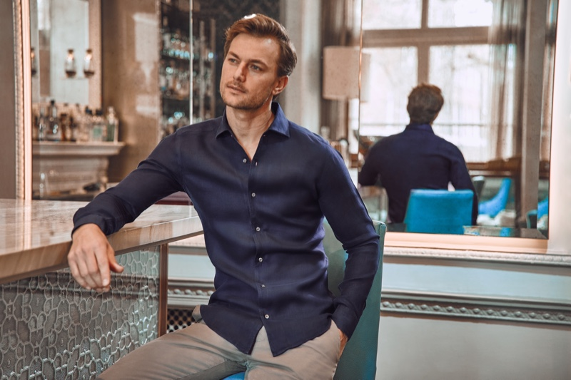 South African model Craig Le Roux sports a linen shirt in midnight blue from Luca Faloni.