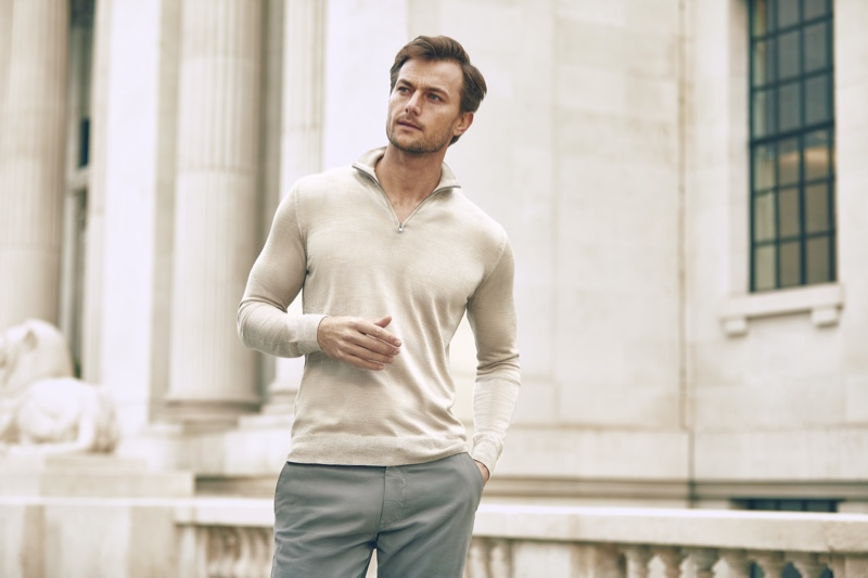 Model Craig Le Roux dons a Luca Faloni silk-cashmere zip-up sweater in oatmeal.