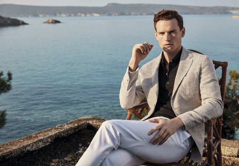 British model Guy Robinson brushes up on smart style for Lufian's spring-summer 2020 campaign.