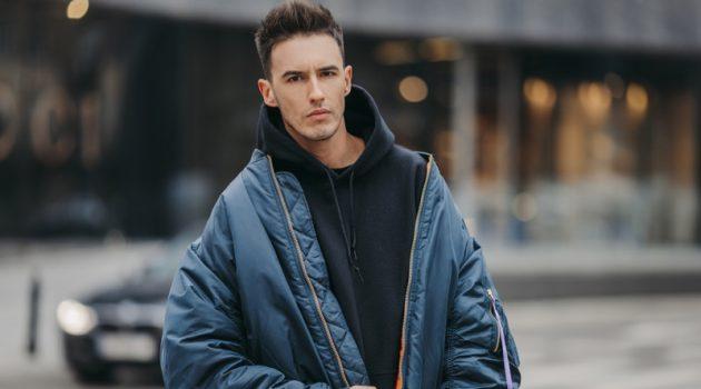 Male Model Street Style Oversized Jacket Hoodie