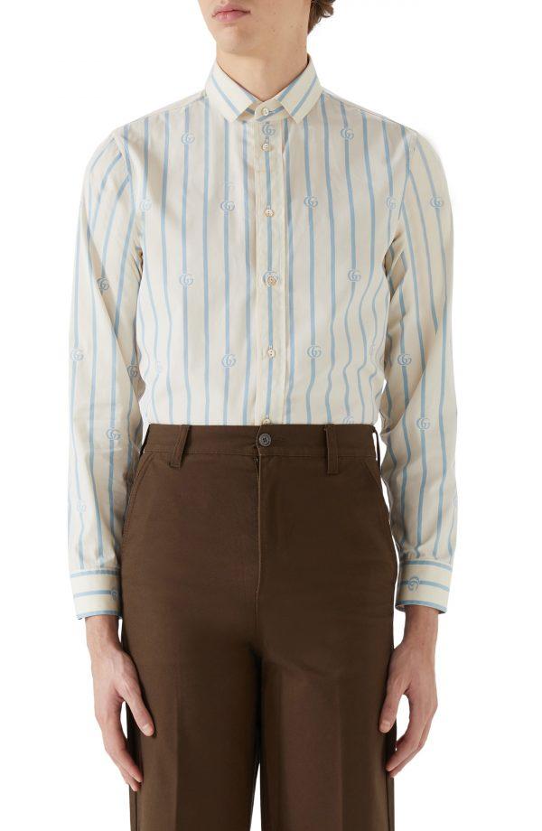 Men's Gucci Gg Stripe Cotton Button-Up Shirt, Size 46 EU - Ivory