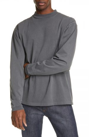 Men's John Elliott Mock Neck Long Sleeve T-Shirt, Size Small - Grey