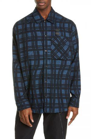 Men's Off-White Check Arrow Cotton Flannel Shirt, Size XX-Large - Blue